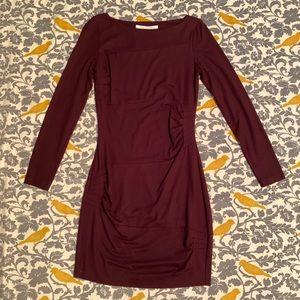 DVF Burgundy Cinched Long Sleeve Dress EUC Size 4